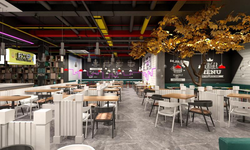 长沙办公室与商业空间装修公司浩安公装餐饮门店装修设计案例效果图万象汇美食城室内装修设计效果图