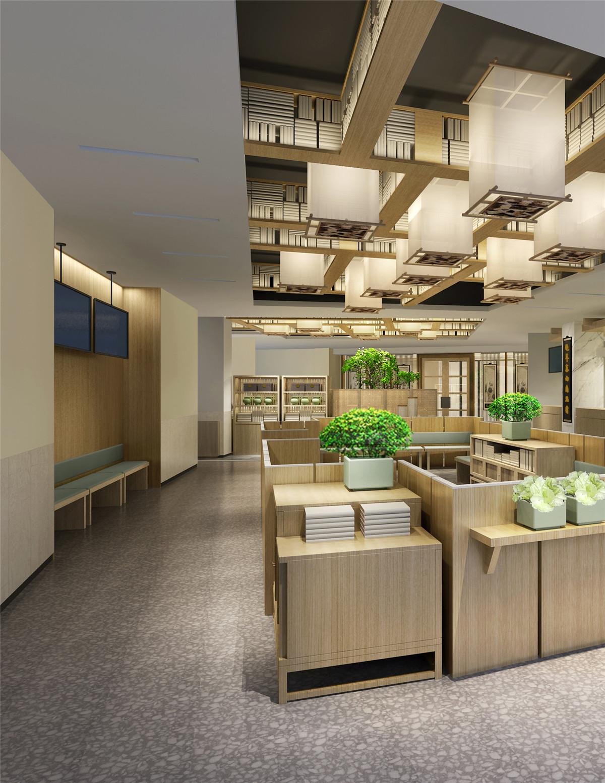 长沙装修公司浩安公装商业空间装修设计案例暖色调宽敞空间设计中医药馆效果图