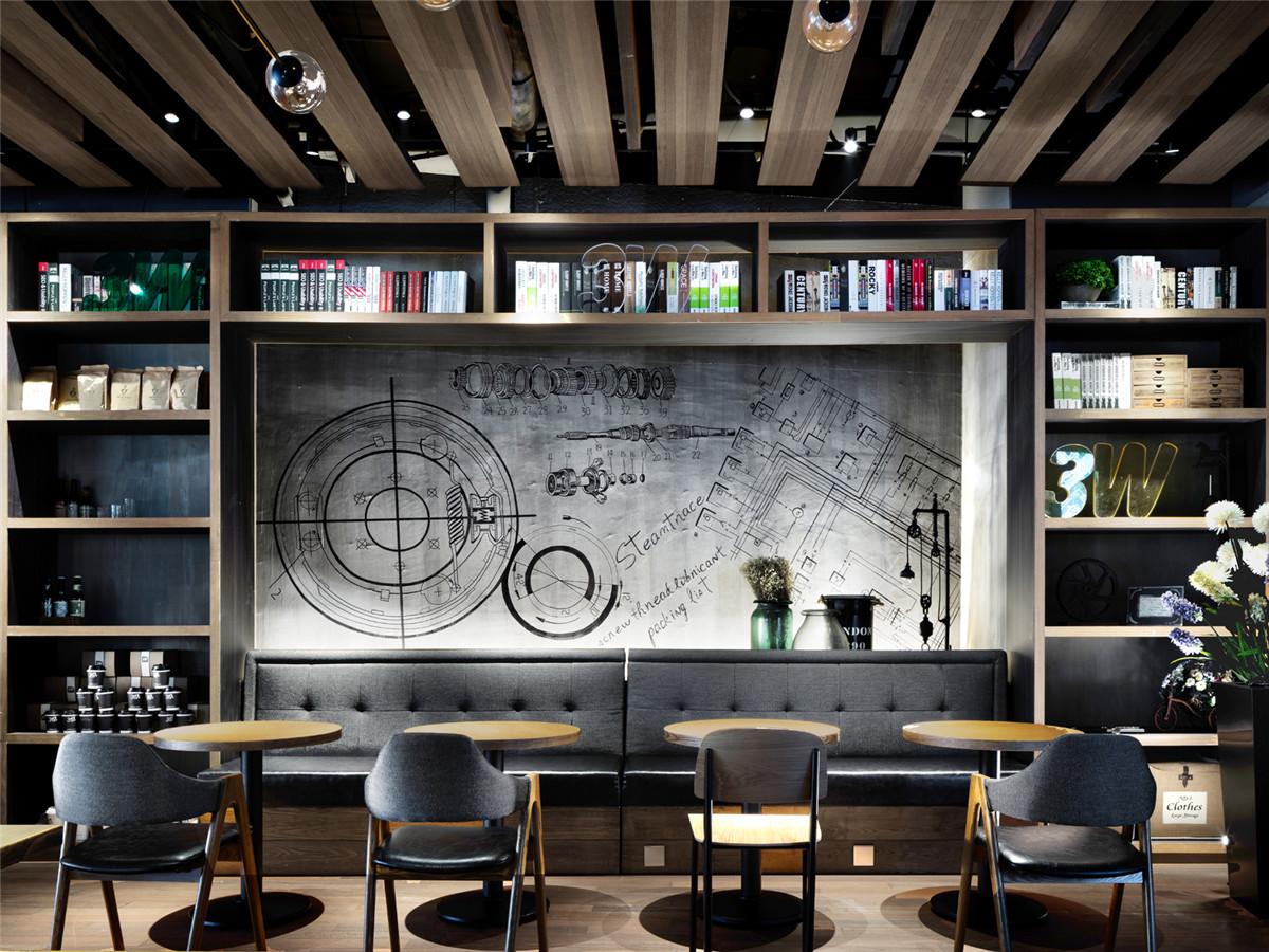 浩安公装长沙办公室装饰装修设计案例运用高级灰色调打造创客与社交兼备的文艺风咖啡馆