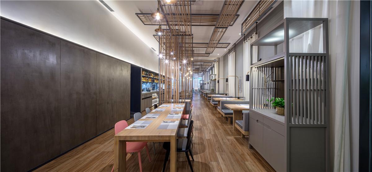 长沙办公室与商业空间装修公司浩安公装餐饮门店装修设计案例效果图早村|和原木轻工业风空间设计轻食餐厅