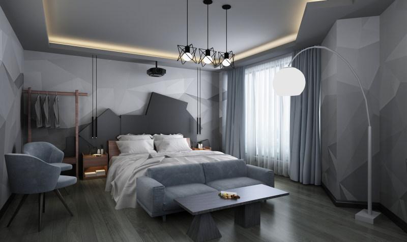 浩安公装公司湖南区域装修案例黑白灰色调LOFT风格畔城主题酒店设计效果图