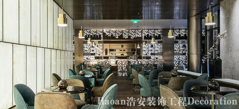 长沙办公室与商业空间装修公司浩安公装餐饮门店装修设计案例效果图现代风格餐厅装修设计图
