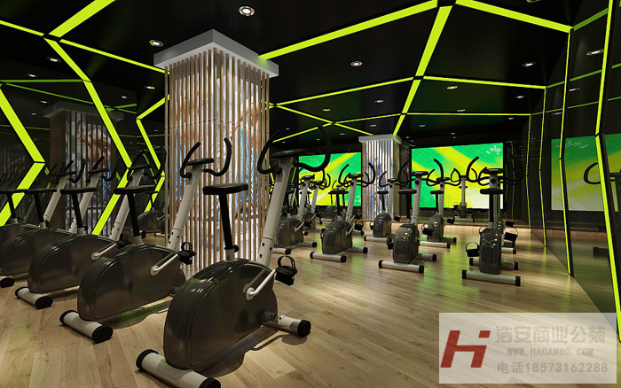 长沙办公室与商业空间装修公司浩安公装商业空间装修设计案例效果图爱尚|健身房装修设计效果