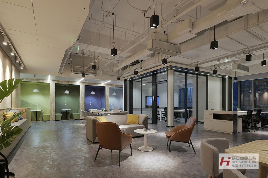 长沙装修公司浩安公装办公空间装修设计案例湘潭创客室设计装修效果图案例