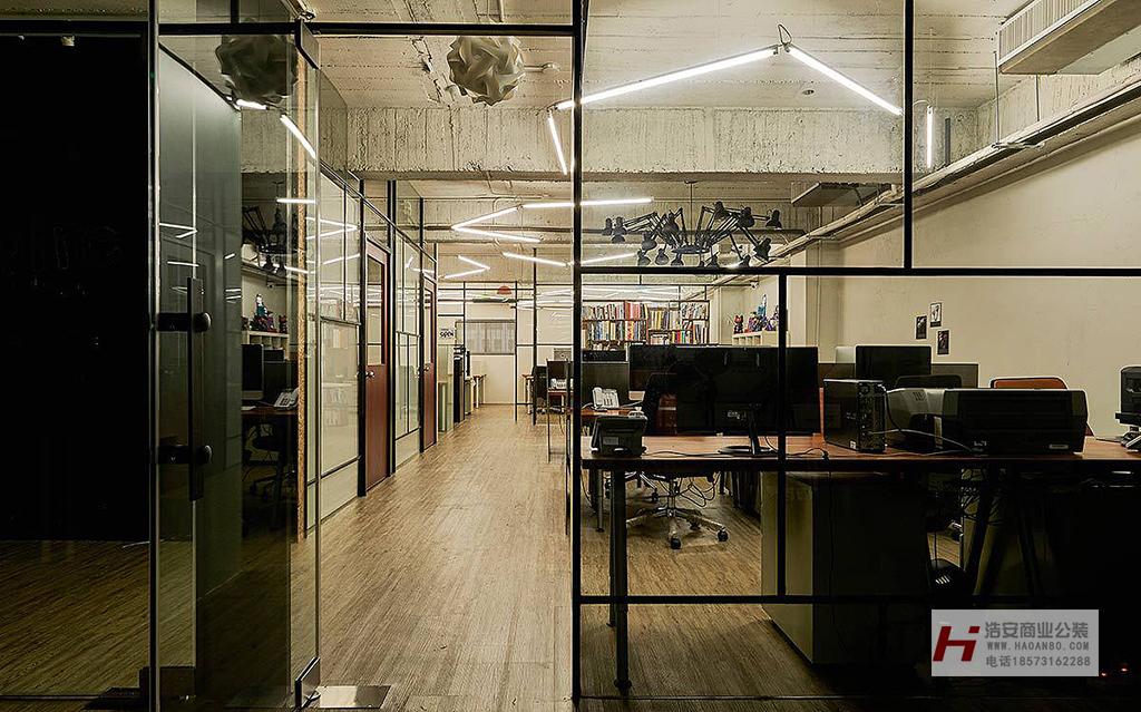 长沙装修公司浩安公装办公空间装修设计案例株洲现代工业风装修设计效果图案例