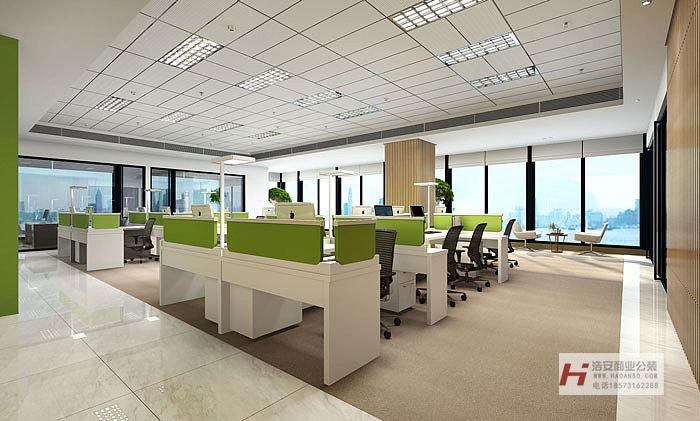 浩安公装公司公装报价588套餐客户益阳互联网电商公司简约风办公室装修设计效果图案例案例