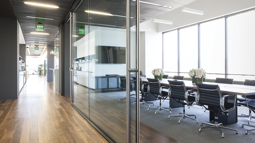 湖南浩安公装谈室内设计中新中式风格办公室装修设计案例效果图