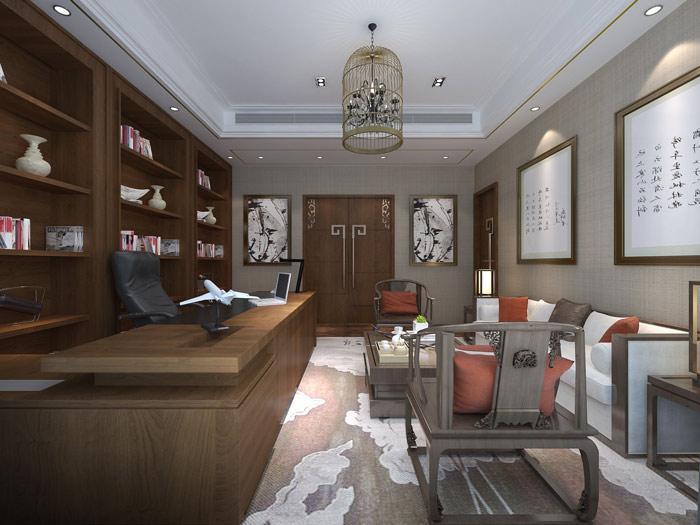 湖南浩安公装谈室内设计中地中海风格办公室装修设计效果图