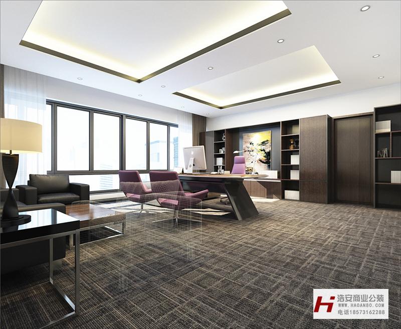 长沙办公室与商业空间装修公司浩安公装办公空间装修设计案例效果图湖南风瀚电子商务|质感办公室装修效果