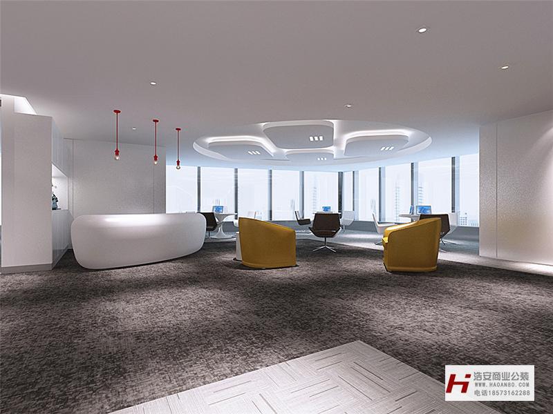 长沙办公室与商业空间装修公司浩安公装办公空间装修设计案例效果图大辰环保股份|现代中式办公空间装修设计效果
