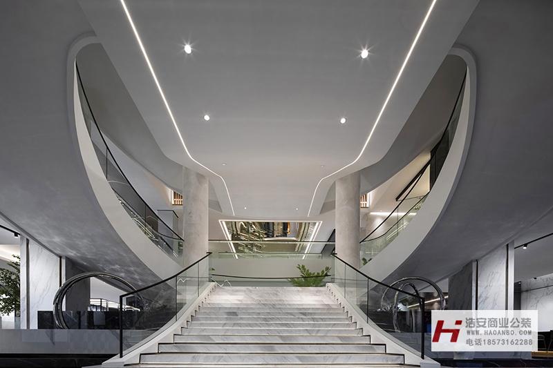 长沙办公室与商业空间装修公司浩安公装企业展厅装修设计案例效果图湖南天欣陶瓷|建材陶瓷企业展厅装修效果