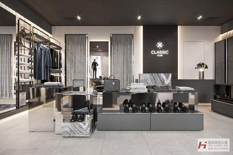 湖南浩安专业办公室装修公司公装(工装)案例CLASSIC|男装店门店装修设计